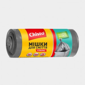 Мешки для мусора «Chisto»с затяжками, 35л х 15шт.